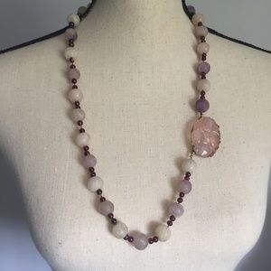 Vintage Asian Craved Rose Quartz & Garnet Necklace